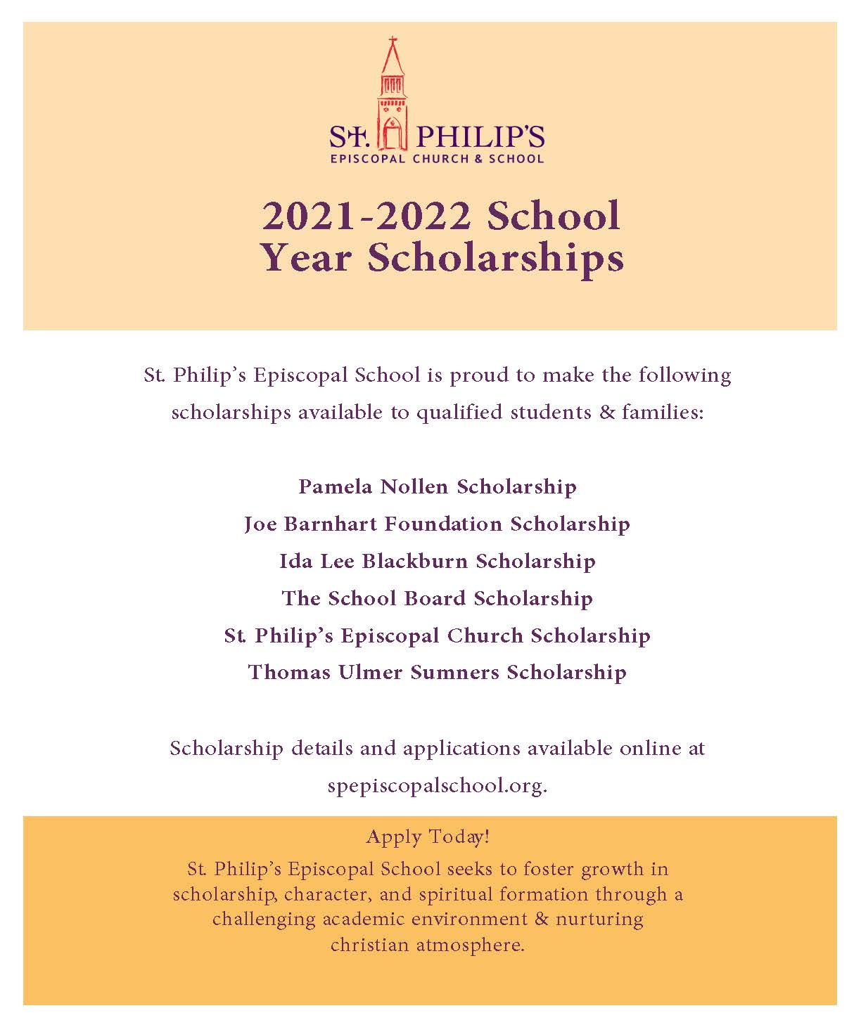 Episcopal Church Calendar 2022.Scholarships St Philips Episcopal School